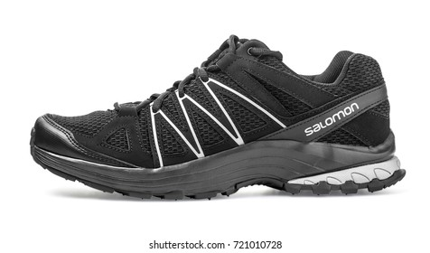 Chisinau, Moldova, 19 September 2017- Salomon  trail running shoe on white background.The Salomon Group is a famous sports equipment manufacturing company.