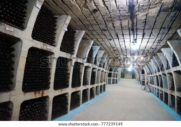 Chisinau, Moldova. 27 November 2017. The Tunnels and Interior of Milestii Mici Underground Winery