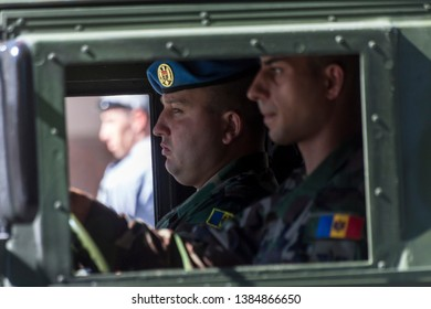 Chisinau, Moldova. 27th August 2016. Military driving on the Stefan cel Mare si Sfant street during the Independence Day Parade in Chisinau, Moldova. © Lutai Razvan/Alamy Live News