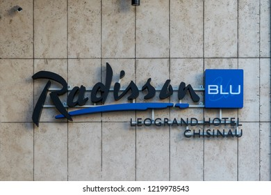 CHISINAU, MOLDOVA - 31 DECEMBER, 2017: The logo of Radisson Blu Hotel in Chisinau, Republic of Moldova
