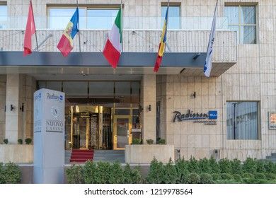 CHISINAU, MOLDOVA - 31 DECEMBER, 2017: The entrance of the Radisson Blu hotel in Chisinau, Republic of Moldova