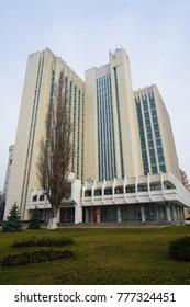 CHISINAU, MOLDOVA - 7 DECEMBER 2017. Soviet Architecture And The Streets of Chisinau in Moldova