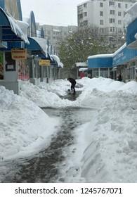 Chisinau, Moldova - April 21, 2017: Heavey snowfall hits Chisinau in the middle of spring