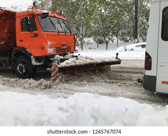Chisinau, Moldova - April 21, 2017: Kamaz snowplow on the street of Chisinau after a heavy snowfall