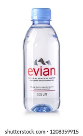 Chisinau, Moldova- April, 21, 2018:: Bottle Of Evian Natural Mineral Water on a white background. Made in France.
