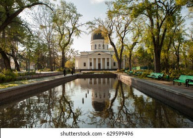 CHISINAU, MOLDOVA - APRIL 23, 2017: Cathedral Park on April 23, 2017 in Chisinau, Moldova. Bell tower of the Nativity Cathedral in Chisinau - Moldova