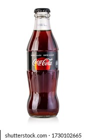 Chisinau, Moldova - April 26, 2020: Classic bottle Of Coca-Cola isolated on white.With clipping path