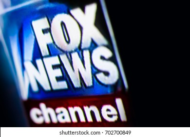 Chisinau, Moldova - August 24, 2017. Photo of FOX NEWS chanel on a tv monitor screen. Fox News is an American basic cable and satellite television news channel.