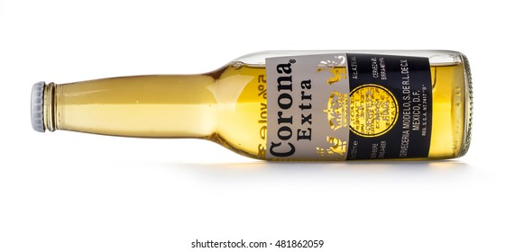 CHISINAU, MOLDOVA - August 26, 2016: Photo of a bottle of Corona Extra Beer. Corona, produced by Grupo Modelo with Anheuser Busch InBev, is the most popular imported beer in the US.