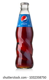 Chisinau, Moldova - Augustr 26, 2016: Photo of Pepsi glass bottle. Pepsi is a carbonated soft drink that is produced and manufactured by PepsiCo