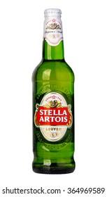 CHISINAU, MOLDOVA -: December 12. 2015 Stella Artois, prominent brand of Anheuser-Busch InBev, is a pilsner brewed in Leuven, Belgium, since 1926