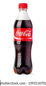 Chisinau, Moldova December 15.2015:Photo of Coca-Cola plastic bottle Isolated on white Background With clipping path
