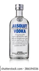 CHISINAU, MOLDOVA  - DECEMBER 25, 2015: Bottle of Swedish vodka Absolut, Produced by Vin & Sprit.