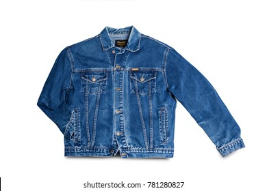 CHISINAU, MOLDOVA - December 25, 2017: Jeans jacket Wrangler blue color, isolated on white background. The Wrangler brand is owned by VF Corporation of Greensboro, North Carolina USA. Top view