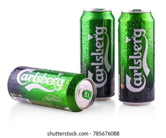 Chisinau, Moldova - December 25, 2017: 33cl can of Carlsberg lager Isolated On White Background. The Carlsberg Group is a Danish brewing company founded in 1847.