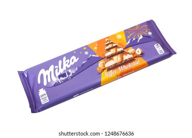 CHISINAU, MOLDOVA - DECEMBER 4, 2018: Bar of Milka chocolate isolated on white. Milka is a brand of chocolate confection which originated in Switzerland in 1901.