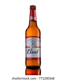 CHISINAU, MOLDOVA - December 9, 2017: Bottle of Budweiser Beer on white background with reflection, an American lager first introduced in 1876.