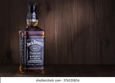 "CHISINAU, MOLDOVA- February 05. 2016. Photo of bottle of ""Jack Daniel's"" Tennessee whiskey.Jack Daniel's is a brand of sour mash"