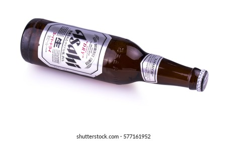 Chisinau, Moldova February 12, 2017:  A bottle of Asahi Super. Asahi was founded in Osaka, Japan in 1889 as the Osaka Beer Company.
