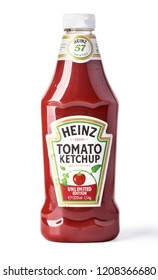 Chisinau, Moldova February, 14, 2017: A bottle of Heinz Ketchup isolated on white background.With clipping path