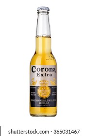 CHISINAU, MOLDOVA - January 04, 2016: Photo of a  bottle of Corona Extra Beer. Corona, produced by Grupo Modelo with Anheuser Busch InBev, is the most popular imported beer in the US.