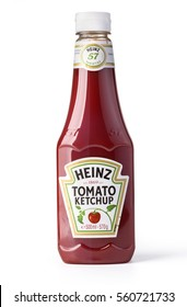 Chisinau, Moldova January 17, 2017: A bottle of Heinz Ketchup isolated on white background.