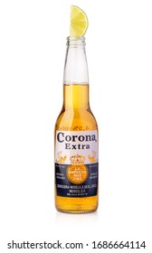 CHISINAU, MOLDOVA - January 19, 2018: Photo of a bottle of Corona Extra Beer. Corona, produced by Grupo Modelo with Anheuser Busch InBev, is the most popular imported beer in the US.