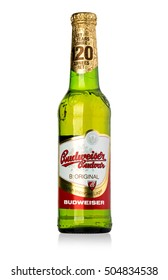 Chisinau, Moldova January 26, 2016: A single bottle of Budweiser on white. From Anheuser-Busch InBev, Budweiser is one of the top selling domestic beers in the United States.