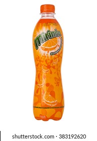 CHISINAU, MOLDOVA- January 27, 2016,. Mirinda plastic bottle isolated on white background. Mirinda is a carbonated soft drink that is produced and manufactured by PepsiCo.
