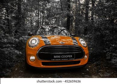 Chisinau, Moldova. July 14, 2016 : Mini Cooper club festival in Moldova. Orange MINI Cooper in dark forest on July 14, 2016 in Chisinau, Moldova.