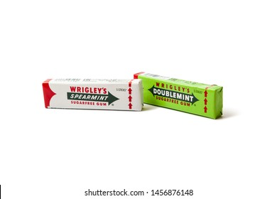 Chisinau, Moldova - July 21, 2019: Doublemint and Spearmint chewing gums made by Wrigley isolated on white with clipping path