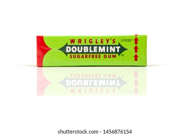 Chisinau, Moldova - July 21, 2019: Doublemint chewing gum made by Wrigley isolated on white
