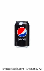 Chisinau, Moldova - July 21, 2019: Can of Pepsi Max drink isolated on white. Pepsi Max is sugarfree carbonated soft drink produced by PepsiCo.