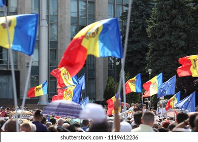 Chisinau, Moldova - June 24 2018: anti-government rally after the election of the Mayor of Chisinau