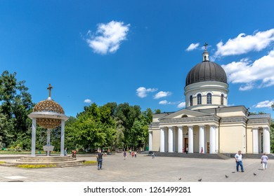 Chisinau, Moldova - Locals and some tourists walking in front of a church in downtown Chisinau in Moldova