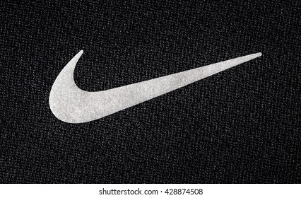 Chisinau, Moldova - Mai  27. 2016:- Close up logo of sport brand NIKE printed on textile , product shot