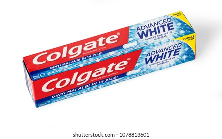 CHISINAU, MOLDOVA - MARCH 25, 2016.Colgate Toothpaste, Advanced Sensation White, isolated on white. Colgate is a brand of toothpaste produced by Colgate-Palmolive.
