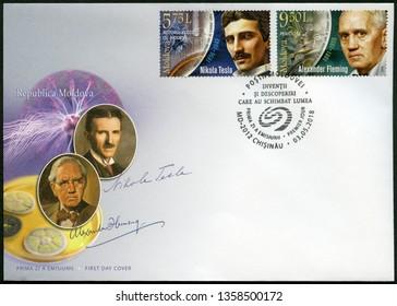 CHISINAU, MOLDOVA - MAY 03, 2018: A stamp printed in Republic of Moldova shows Sir Alexander Fleming (1881-1955), Discoverer of Penicillin and Nikola Tesla (1856-1943), inventor, 2018