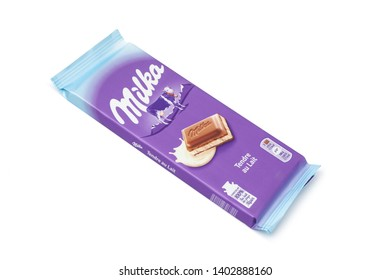 CHISINAU, MOLDOVA - May 20, 2019: Bar of Milka chocolate isolated on white. Milka is a brand of chocolate confection which originated in Switzerland in 1901