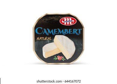 CHISINAU, MOLDOVA - May 21, 2017: Packed traditional Camembert cheese natural isolated on white background