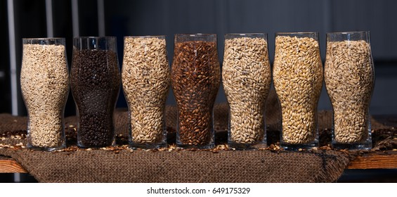 CHISINAU, MOLDOVA - MAY 23, 2017: Glasses filled with different malts and hops over a wooden background. Variety of malt for brewery in Chisinau, Moldova on May 23, 2017