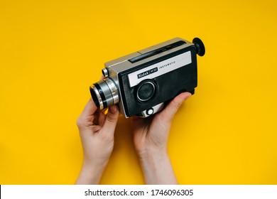Chisinau, Moldova - May 30, 2020: Old vintage film video camera Kodak M30 Instamatic.