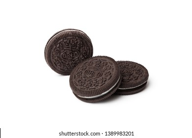CHISINAU, MOLDOVA - May 6, 2019: Oreo cookies over isolated on white background. Oreo is a sandwich cookie consisting of two chocolate wafers with cream filling.