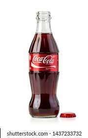 Chisinau, Moldova May,15, 2016: Classic bottle Of Coca-Cola with cup isolated on white with clipping path