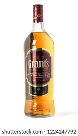 Chisinau, Moldova November 10, 2016: Grants blended cask editions whiskey isolated on white background. Grants has been produced by William Grant and sons in Scotland since 1887