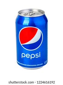 CHISINAU, MOLDOVA- November 14, 2015: Pepsi can on white background. Pepsi is a carbonated soft drink, produced and manufactured by PepsiCo.with clipping path