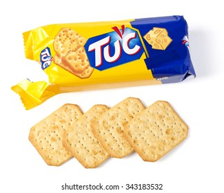 CHISINAU, MOLDOVA - NOVEMBER 14, 2015. Tuc Original Snack Crackers isolated on white. TUC is a brand of snack biscuit marketed by Mondelez International