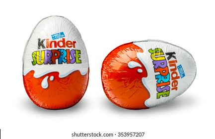 CHISINAU, MOLDOVA - November 14, 2015. Kinder Surprise, a chocolate egg containing a small toy for children, but also popular with adult collectors. Kinder Surprise eggs are manufactured by Ferrero.