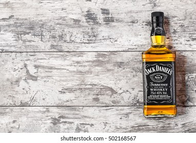 "CHISINAU, MOLDOVA- November 14. 2015.Photo of bottle of ""Jack Daniel's"" Tennessee whiskey.Jack Daniel's is a brand of sour mash"