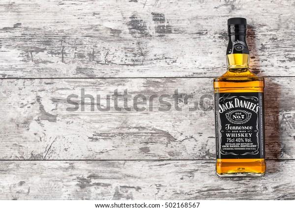 "CHISINAU, MOLDOVA- November 14. 2015.Photo of bottle of ""Jack Daniel's"" Tennessee whiskey.Jack Daniel's is a brand of sour mash"
